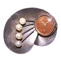 Retro Modern Sterling Silver Cultured Pearl Pin with Working Galmor Watch Brooch