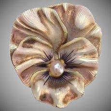 ART NOUVEAU 14K Gold Pin - Enamel, Pearl, Pansy, Watch Pin, F.H. Cutler& Co