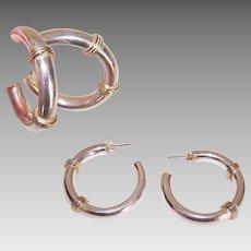 Gorgeous STERLING SILVER & Gold Vermeil Hoop Earrings for Pierced Ears!
