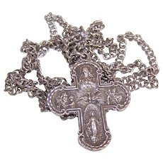 Vintage STERLING SILVER Religious 4-Way Medal/Pendant with Chain Necklace!