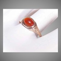 Antique Edwardian 10K Gold Carnelian Ring with Etched Design