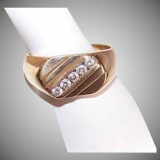 Vintage 14K Gold & .25CT TW Diamond Men's Classic Diagonal Wedding Ring/Wedding Band!