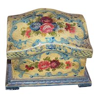 Shabby Chic Italian Tole Handpainted Wood Box with Lots of Florals - Mustard Yellow & Pale Blue