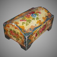 C.1930 ITALIAN TOLE Wooden Box - Handpainted with LOTS of Florals - Cream/Red/Slate Blue!