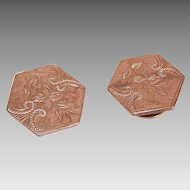 ANTIQUE VICTORIAN 9K Gold Topped/Gold Filled Etched Cufflinks - Florals!