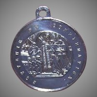Napoleon III SILVERPLATE Medal - Religious, French, Charm, Souvenir de Confirmation