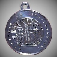 Antique Edwardian FRENCH SILVERPLATE Religious Medal - Souvenir de Confirmation