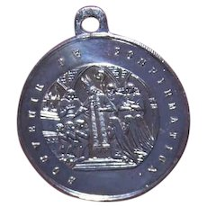 French Silverplate Religious Medal Pendant Charm - Souvenir of Confirmation