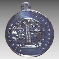 Napoleon III SILVERPLATE Medal - Religious, French, Charm, Souvenir de Confirmation