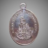 NAPOLEON III Silverplate Charm - Religious, French, Virgin & Child, Madonna & Child, Notre Dame de Lorette