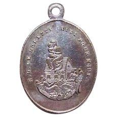 NAPOLEON III Silverplate Charm - Religious, French, Virgin & Child, Madonna & Child, Notre Dame de Lorette