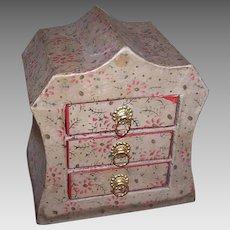 Adorable C.1920 Cardboard Bureau of Drawers - Perfect Treasure Box for a Doll!