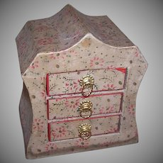 Adorable C.1920 Cardboard Bureau of Drawers - Perfect Treasure Box for a Doll!