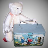 C.1920 Tin Lunch Box/Biscuit Box by TINDECO - Mother Goose & Nursery Rhyme Characters!