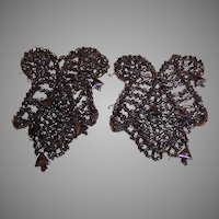 2 VINTAGE Bronze Colored, Rocaille Bead Appliques - Incomplete Pieces!
