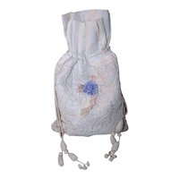 Antique Edwardian Napoleon III Made in France French Cotton Drawstring First Communion or Wedding Purse