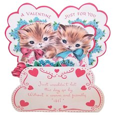 Norcross 1950s Fold Down Valentines Day Card - Two Kittens
