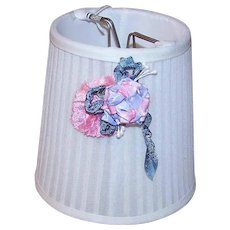 C.1930 Ladies Boudoir Lampshade/Lamp Shade - Cream with Pink/Lavender Floral Applique!