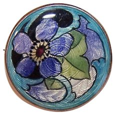ART NOUVEAU Sterling Silver & Enamel Floral Pin/Brooch - Lovely Shades of Blue!