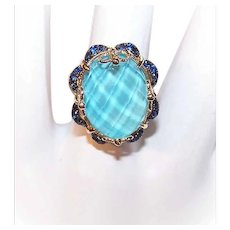 GORGEOUS Vintage 14K Gold, 1.50CT TW Blue Tourmaline & Blue Sapphire Fashion Ring!