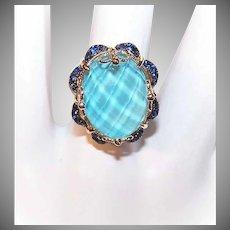 GORGEOUS Vintage 14K Gold, 1.50CT TW Blue Tourmaline & Blue Sapphire Fashion Ring!