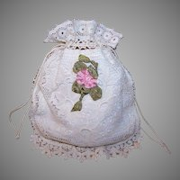 Antique French Cotton Drawstring Purse from France