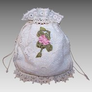 French C.1890 FIRST COMMUNION Purse, Pochette, Pouch, Lace Bag for a Girl - Cotton & Lace!
