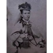 VICTORIAN Tintype of a Dowager Seated in a Chair!