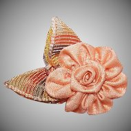 Vintage FRENCH Handmade Ribbon Rose - Peach with Peach/Brown Plain Leaves!