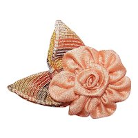 Vintage French Handmade Ribbon Rose Floral - Peach with Ombre Brown Leaves