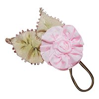 Vintage French Ribbonwork Pink Ribbon Rose with Leaves