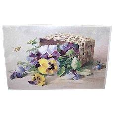 C.1960 CATHERINE KLEIN Postcard - Pansies in a Basket