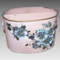 Vintage ITALIAN TOLE Desk Caddy - Painted Tin, Letter Holder, Pink, Cherry Blossoms, Lion Heads