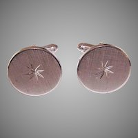 Vintage STERLING SILVER Cufflinks/Cuff Links - Round with Etched Star Center!