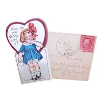 Used Antique Edwardian Valentines Day Card with Original Envelope | Little Girl