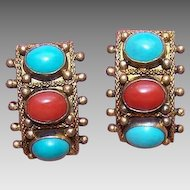 Vintage CHINA SILVER Vermeil Clip Earrings with Turquoise & Red Coral Cabs