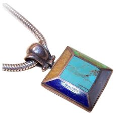 Vintage STERLING SILVER and Inlay Stone Pendant - Lapis Lazuli, Turquoise and Mother of Pearl