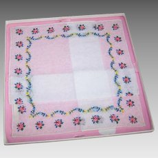 Unused SWISS Embroidered Floral Hanky with Original Box from Marshall Field, Chicago!