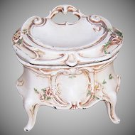 ART NOUVEAU Painted Cast Iron Vanity Treasure Box - Hinged Lid - Cream with Florals!