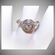ART DECO 14K Gold & .15CT Diamond Filigree Engagement Ring!