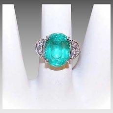 GIA Vintage 18K Gold, 5.45CT Russian Emerald & Diamond Ring - Estate Piece!
