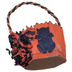 Vintage HALLOWEEN Orange/Black Candy Container of Crepe Paper - Black Cat Die Cut!