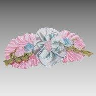 FRENCH RIBBONWORK Silk & Rayon Ribbon Floral Spray Applique/Ribbon Flower Embellishment!