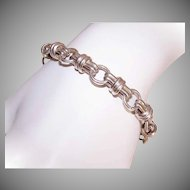 Hefty VINTAGE Sterling Silver Bracelet with Toggle Clasp - Large Round Links for Charms!