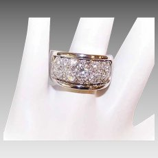 Vintage 14K Gold Wedding Band with .70CT Center Diamond & 1CT TW Pave Diamonds!