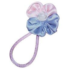 Vintage RETRO American Ribbonwork Floral Embellishment/Applique - Baby Pink & Periwinkle!