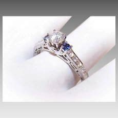 Vintage 14K Gold, .40 CT Center Diamond & .12CT TW Blue Sapphire Engagement Ring - Size 8!