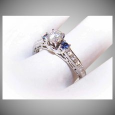 Vintage 14K Gold, .40 CT Center Diamond & .12CT TW Blue Sapphire Engagement Ring - Size 8!