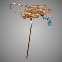 C.1900 EDWARDIAN Gold Filled Equestrian Stick Pin - 3 Horses and a Whip!