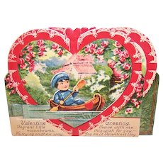Art Deco German High Gloss Mechanical Valentines Day Card - Boy in Boat on Lake